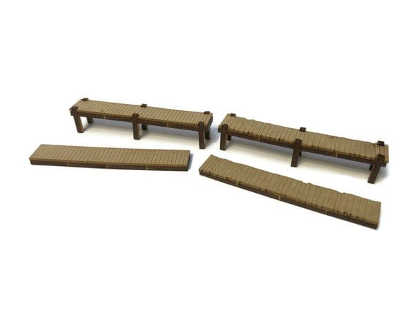 LX386-OO Small Wooden Jetties (Pack of 4) - OO/4mm/1:76